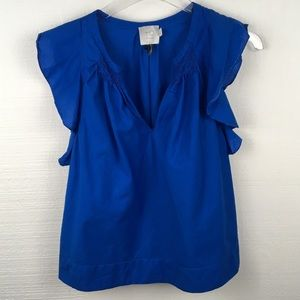 Anthropologie HD In Paris Bright Blue Ruffled Top
